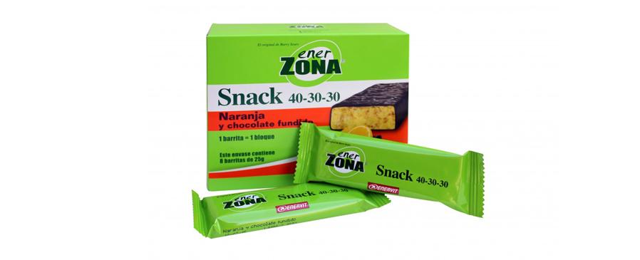 EnerZona Snack 40-30-30 Sabor Naranja es una suave barrita recubierta de una deliciosa capa de chocolate fundido.