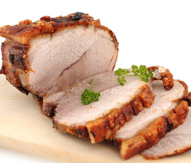 Lomo de cerdo asado con Coles de Bruselas