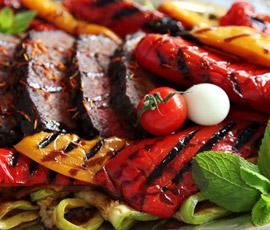 Parrillada de verduras / Solomillo de cerdo a la plancha